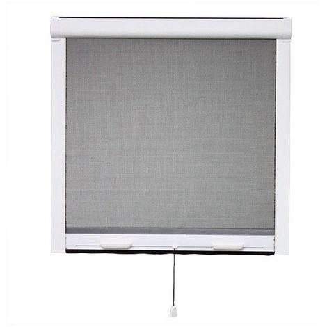MOUSTIQUAIRE ENROULABLE VERTICALE PVC H.145 x L.100 cm POUR FENETRE - Ossature blanche, Toile Grise