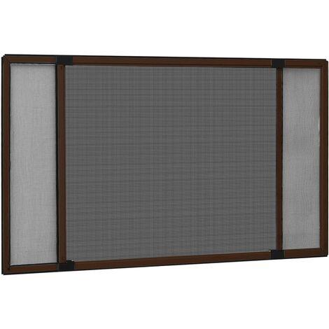 Moustiquaire extensible pour fenêtres Marron (75-143)x50 cm