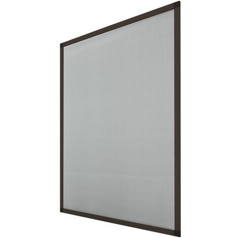 Moustiquaire fenêtre 80 x 100 cm cadre aluminium marron anti moustique guêpe