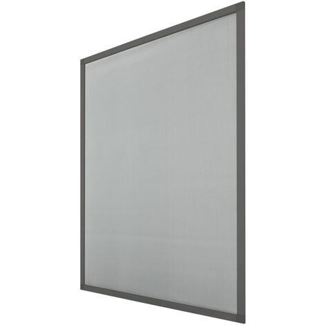 Moustiquaire fenêtre 80x100 cm cadre aluminium gris anti moustique guêpe mouche