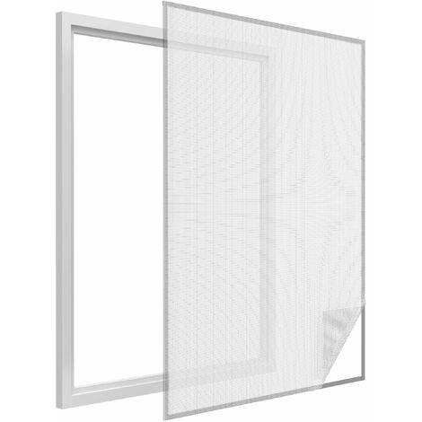 Moustiquaire fenêtre blanc 28g/m² bande auto-agrippante 9,5 mm max 100x100 cm - Blanc