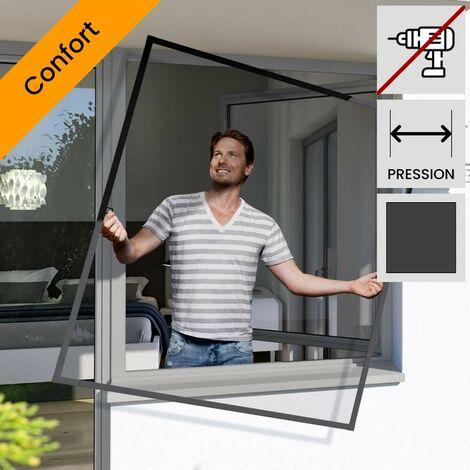 Moustiquaire fenetre cadre fixe confort Gris anthracite 100x120 cm - Gris anthracite