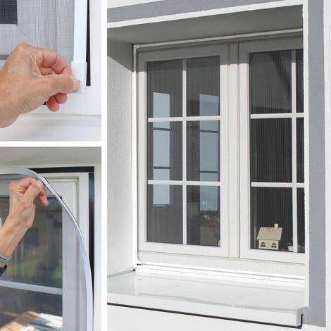 Moustiquaire fenêtre cadre magnétique blanc 130x150 cm anti moustique mouche