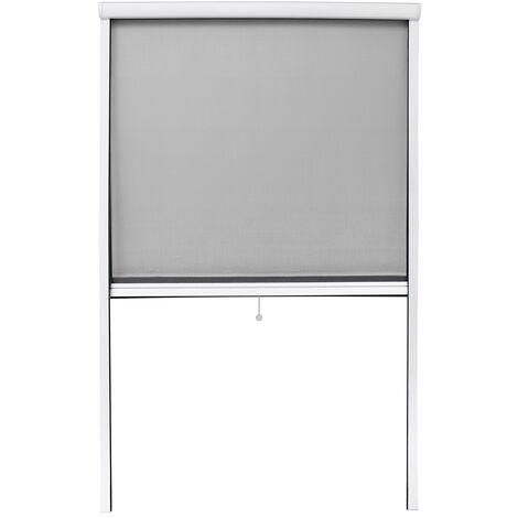 Moustiquaire fenêtre enroulable 100x160cm en aluminium blanc protection insectes