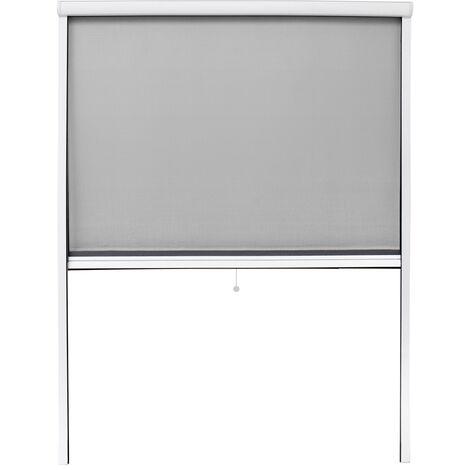Moustiquaire fenêtre enroulable 130x160cm en aluminium blanc protection insectes