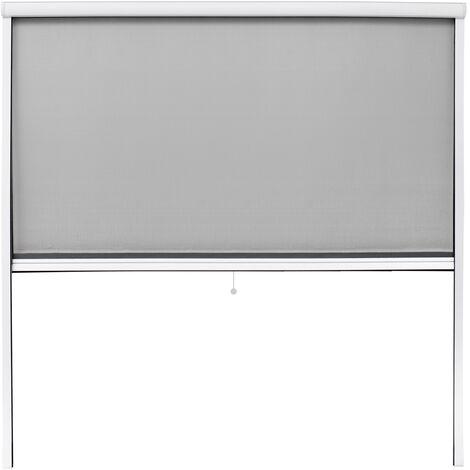 Moustiquaire fenêtre enroulable 160x160cm en aluminium blanc protection insectes