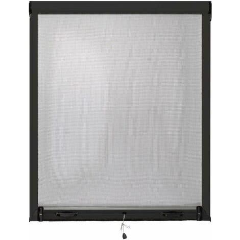 Moustiquaire Fenêtre Enroulable L125cm Alu Anthracite Hauteur au Choix