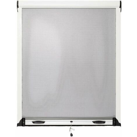 Moustiquaire Fenêtre Enroulable L125cm Aluminium Blanc Hauteur au Choix