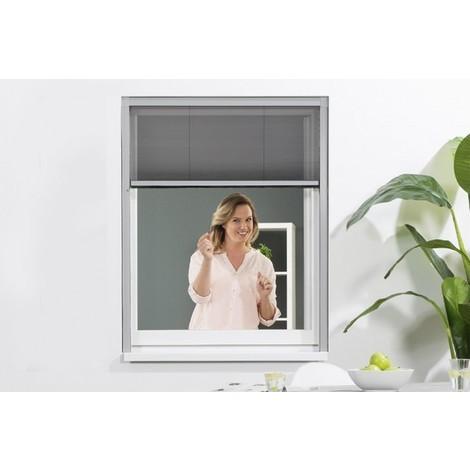 Moustiquaire Fenêtre Plissée Pro Alu Gris L80 X H160 Cm Raccourci