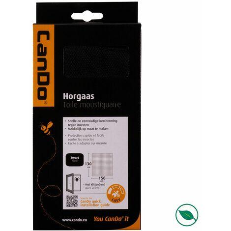 Moustiquaire gaze polyester + velcro noir basic 150 x 130 cm.