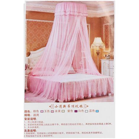 Moustiquaire Lit Auvent élégant Dentelle Dome Plafond Suspendu Dentelle Insecte Net Chiffrement Surélevant Plafond Princesse Dome Court Convient pour: Lit de 1,2 à 1,8 m Rose rose Type A