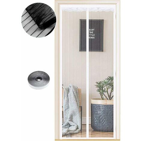 Moustiquaire Magnétique pour Portes, 54 Tailles, 90 x 200cm , Fermeture Automatique, de Porte Rideau Couloirs Patio Sans Perçage, Kit d'installation Complet, Rayures Blanches