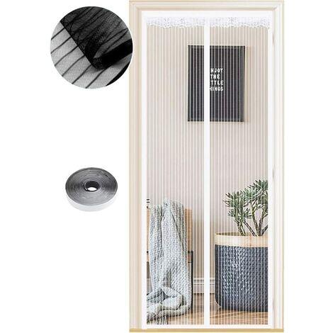 Moustiquaire Magnétique pour Portes, 54 Tailles, 90 x 200cm , Fermeture Automatique, de Porte Rideau Couloirs Patio Sans Perçage, Kit d'installation Complet Rayures Blanches