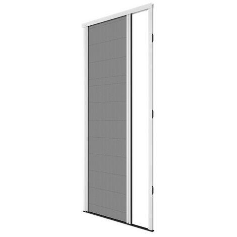 Moustiquaire Plissée ouverture latérale pour Porte, H 230 cm x L 100 cm Alu Blanc