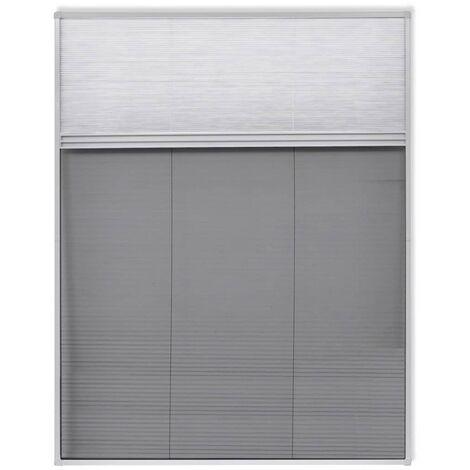 Moustiquaire plissée pour fenêtre 160 x 110 cm avec store occultant