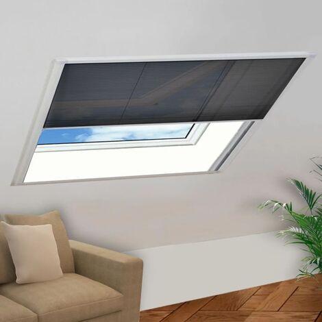 Moustiquaire plissée pour fenêtre Aluminium 130 x 100 cm