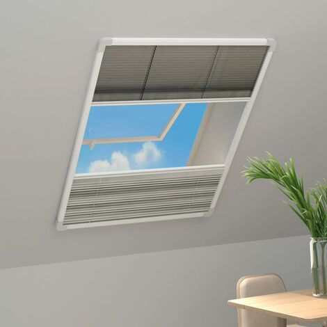 Moustiquaire plissée pour fenêtre Aluminium 60x160 cm et auvent