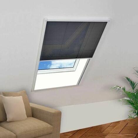 Moustiquaire plissée pour fenêtre Aluminium 80 x 120 cm