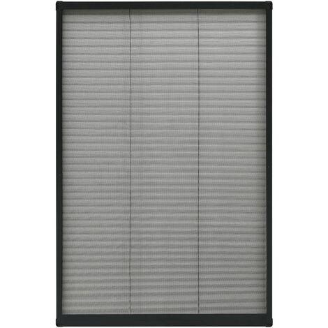 Moustiquaire plissée pour fenêtre Aluminium Anthracite 80x160cm