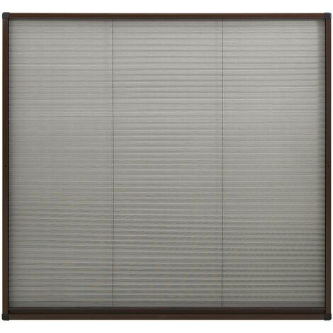 Moustiquaire plissée pour fenêtre Aluminium Marron 100x130 cm