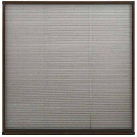 Moustiquaire plissée pour fenêtre Aluminium Marron 120x120 cm