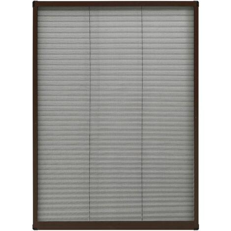 Moustiquaire plissée pour fenêtre Aluminium Marron 80x120 cm