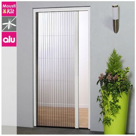 """main image of """"Moustiquaire plissée pour porte ou porte-fenêtre - H230 cm x L140 cm - blanc - Moustikit - Blanc"""""""
