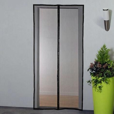 Moustiquaire porte rideau magnétique - H230 cm x L100 cm - Polyester noir