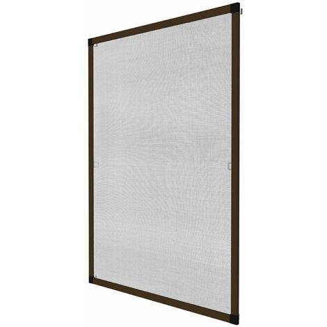 Moustiquaire pour fenêtre cadre fixe en aluminium 120x140 cm brun