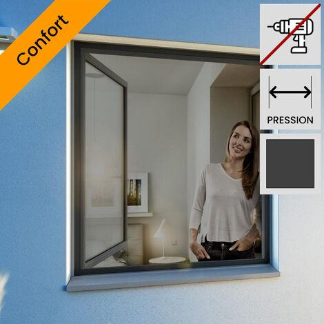 Moustiquaire pour fenetre cadre fixe ultra plat Gris anthracite 120x150 cm - Gris anthracite