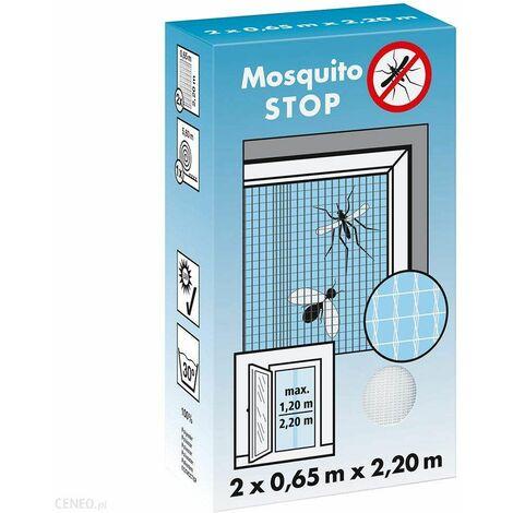 """Moustiquaire pour porte, """"STOP"""" blanc, 2 lamelles de 0,65m x 2,20m"""