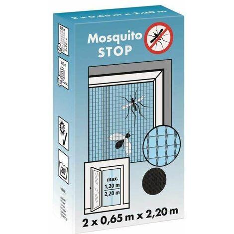 """Moustiquaire pour porte, """"STOP"""" gris, 2 lamelles de 0,65m x 2,20m"""