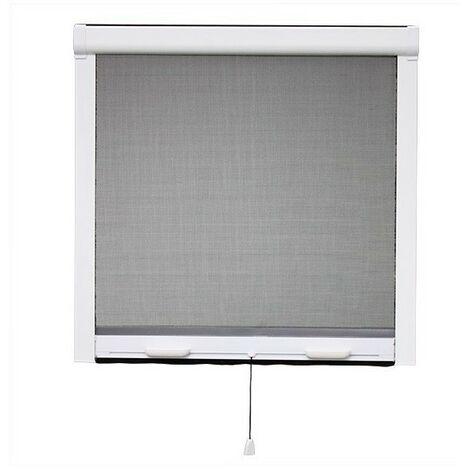Moustiquaire PVC enroulable verticale fenêtre L 80 cm x H 100 cm, coloris blanc - Ossature blanche, Toile Grise