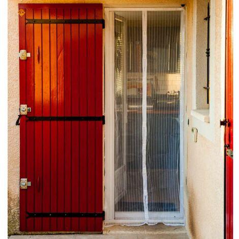 Moustiquaire rideau de porte aimantée blanche 215 x 50 cm x2
