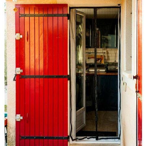 Moustiquaire rideau de porte aimantée noire 215 x 50 cm x2