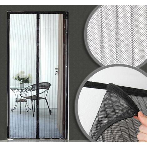 Moustiquaire rideau de porte noir aimanté