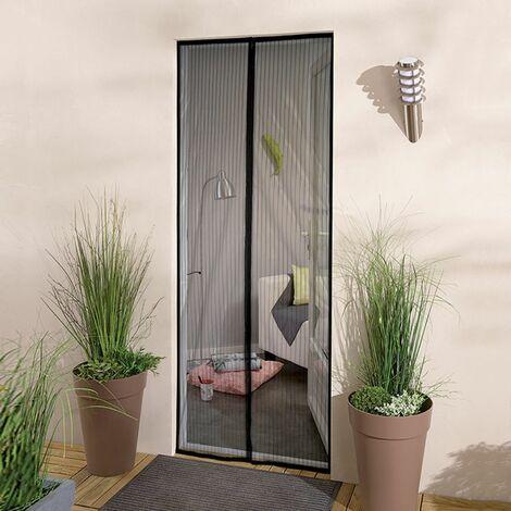Moustiquaire rideau de porte sans percer - Noir - L2 x H215cm
