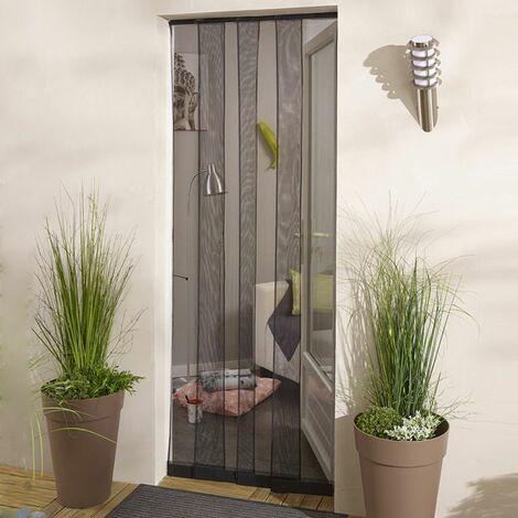 Moustiquaire rideau de porte sans percer - Noir - L4 x H215cm