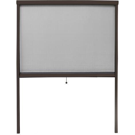 Moustiquaire rouleau magnétique pour fenêtre en aluminium marron 130x160cm