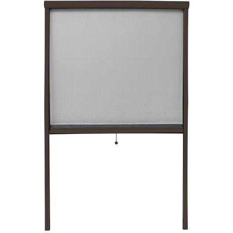 Moustiquaire store pour fenêtre en aluminium marron magnétique 100x160cm