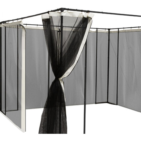 Moustiquaires pour tonnelle barnum pavillon de jardin 3 x 3 m - lot de 4 moustiquaires zippées + crochets d'attaches - polyester nylon