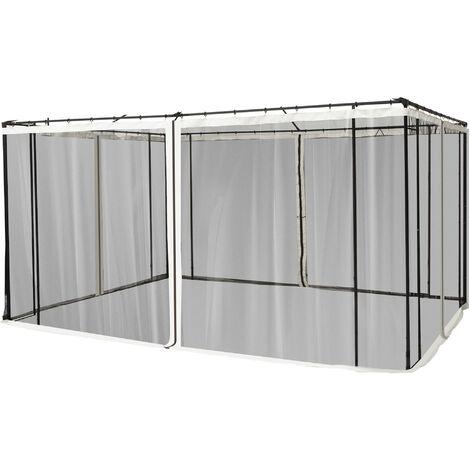 Moustiquaires pour tonnelle barnum pavillon de jardin 3 x 3,65 m - lot de 4 moustiquaires zippées + crochets d'attaches - polyester nylon
