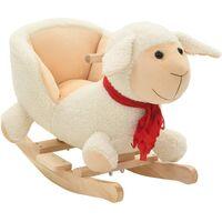 Mouton à bascule avec dossier Peluche 60 x 32 x 50 cm Blanc