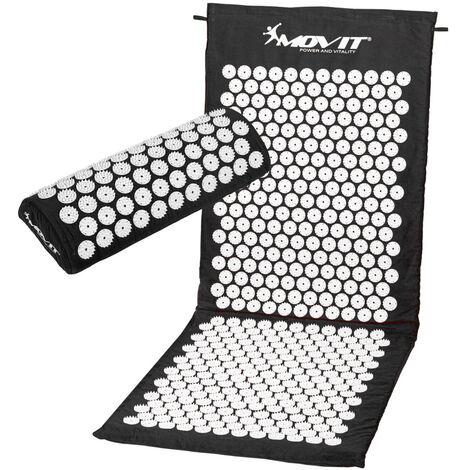 MOVIT® Akupressurmatte mit Kissen 130x50, schwarz