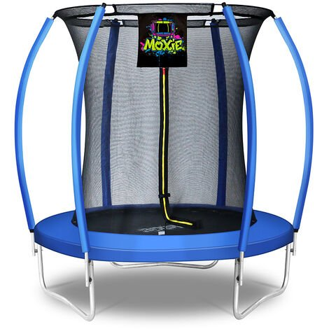 """main image of """"Moxie Pumpkin-Shaped Outdoor Trampoline with Enclosure - Top-Ring Enclosed Trampoline with Safety Pad 