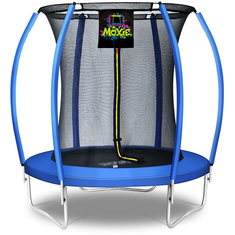 Moxie Pumpkin-Shaped Outdoor Trampoline with Enclosure - Top-Ring Enclosed Trampoline with Safety Pad | TUV Certified Backyard Trampoline for Kids
