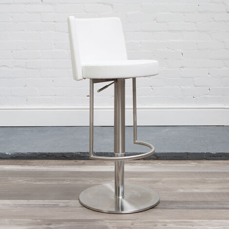 Moyzan Brushed Steel Kitchen Bar Stool With Footrest - Variety Of Colours