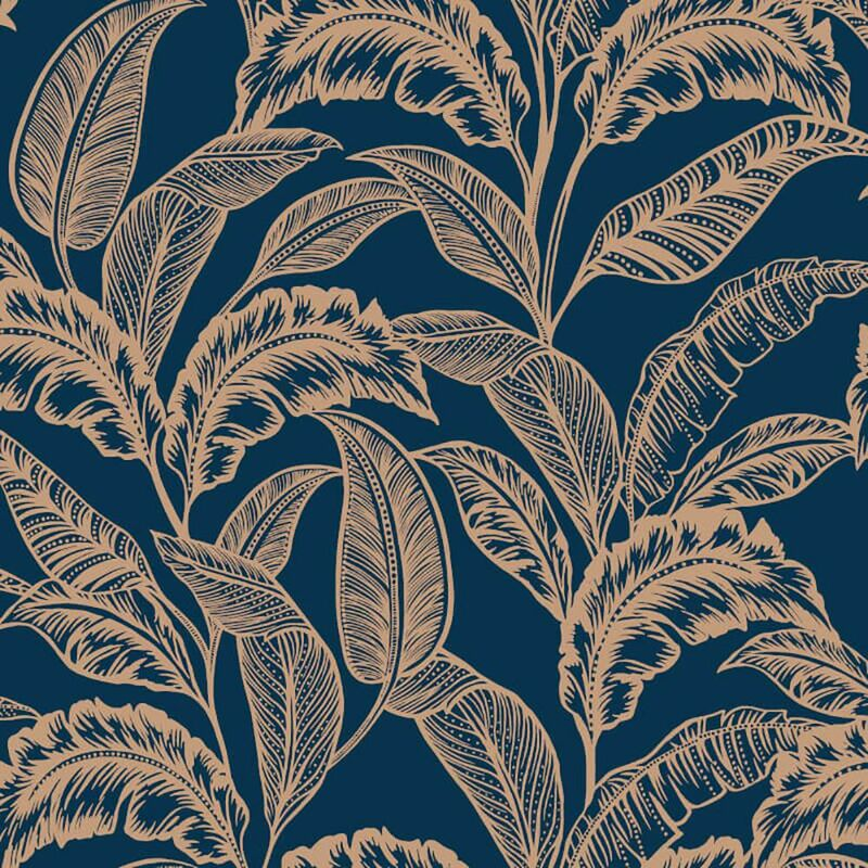 Image of Mozambique Wallpaper Jungle Navy Rose Gold Paste The Wall - Accessorize
