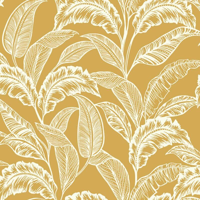 Image of Mozambique Wallpaper Palm Leaf Ochre Yellow Paste The Wall - Accessorize