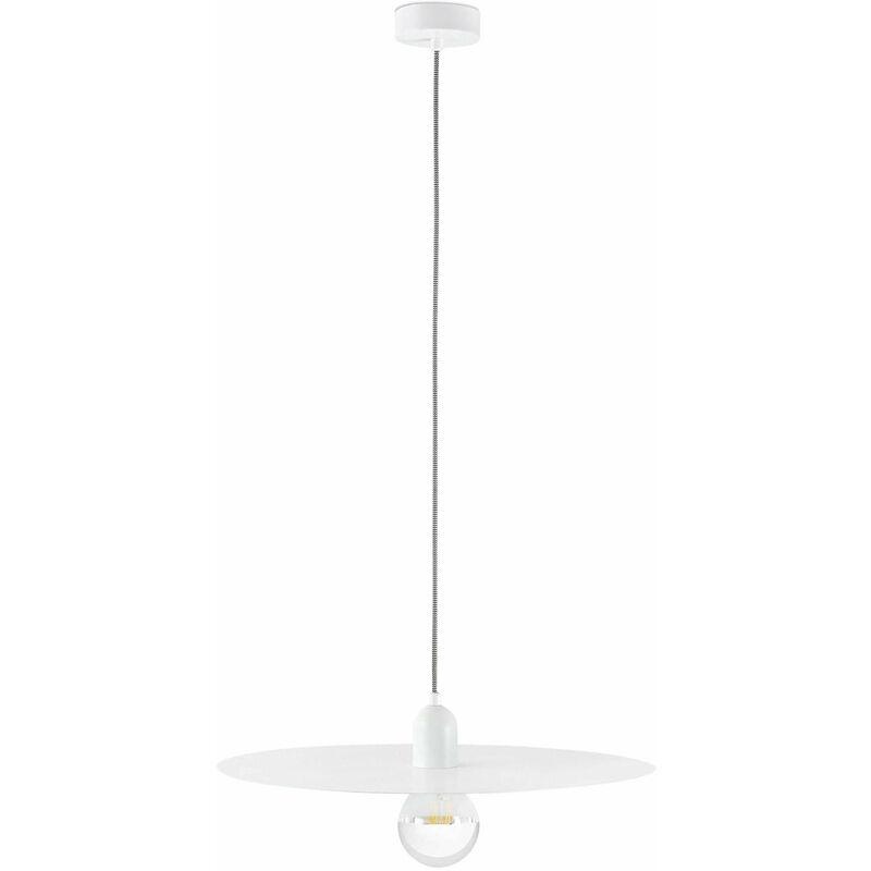08-faro - Weiße Pendelleuchte Plat 1 Glühbirne